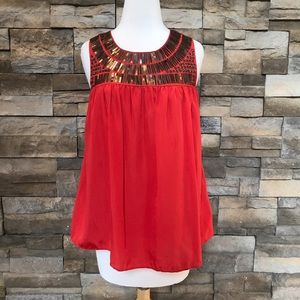 Kenar deep orange embellished top
